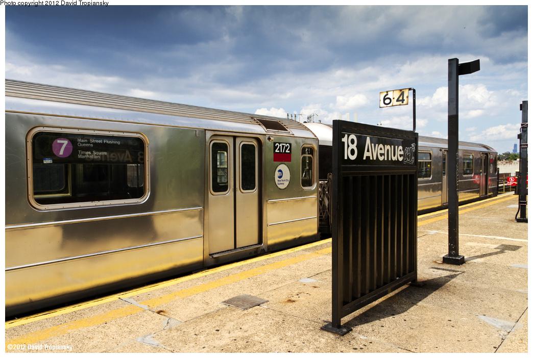 (361k, 1044x702)<br><b>Country:</b> United States<br><b>City:</b> New York<br><b>System:</b> New York City Transit<br><b>Line:</b> BMT Culver Line<br><b>Location:</b> 18th Avenue <br><b>Route:</b> Testing<br><b>Car:</b> R-62A (Bombardier, 1984-1987)  2172 <br><b>Photo by:</b> David Tropiansky<br><b>Date:</b> 8/6/2012<br><b>Viewed (this week/total):</b> 1 / 1507