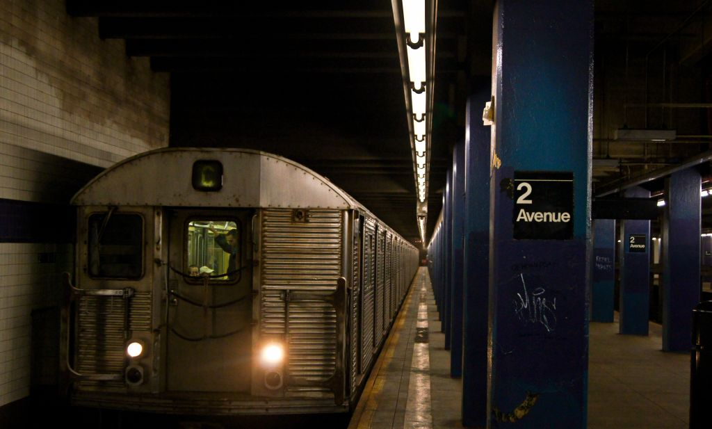 (99k, 1024x617)<br><b>Country:</b> United States<br><b>City:</b> New York<br><b>System:</b> New York City Transit<br><b>Line:</b> IND 6th Avenue Line<br><b>Location:</b> 2nd Avenue<br><b>Route:</b> C reroute<br><b>Car:</b> R-32 (Budd, 1964)  <br><b>Photo by:</b> Robert Fein<br><b>Date:</b> 3/24/2012<br><b>Viewed (this week/total):</b> 0 / 1275
