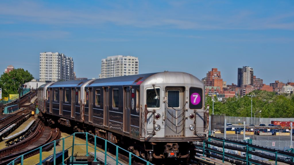 (135k, 1024x575)<br><b>Country:</b> United States<br><b>City:</b> New York<br><b>System:</b> New York City Transit<br><b>Line:</b> IRT Flushing Line<br><b>Location:</b> Willets Point/Mets (fmr. Shea Stadium) <br><b>Route:</b> 7<br><b>Car:</b> R-62A (Bombardier, 1984-1987)  1921 <br><b>Photo by:</b> Robert Fein<br><b>Date:</b> 5/12/2012<br><b>Viewed (this week/total):</b> 1 / 959
