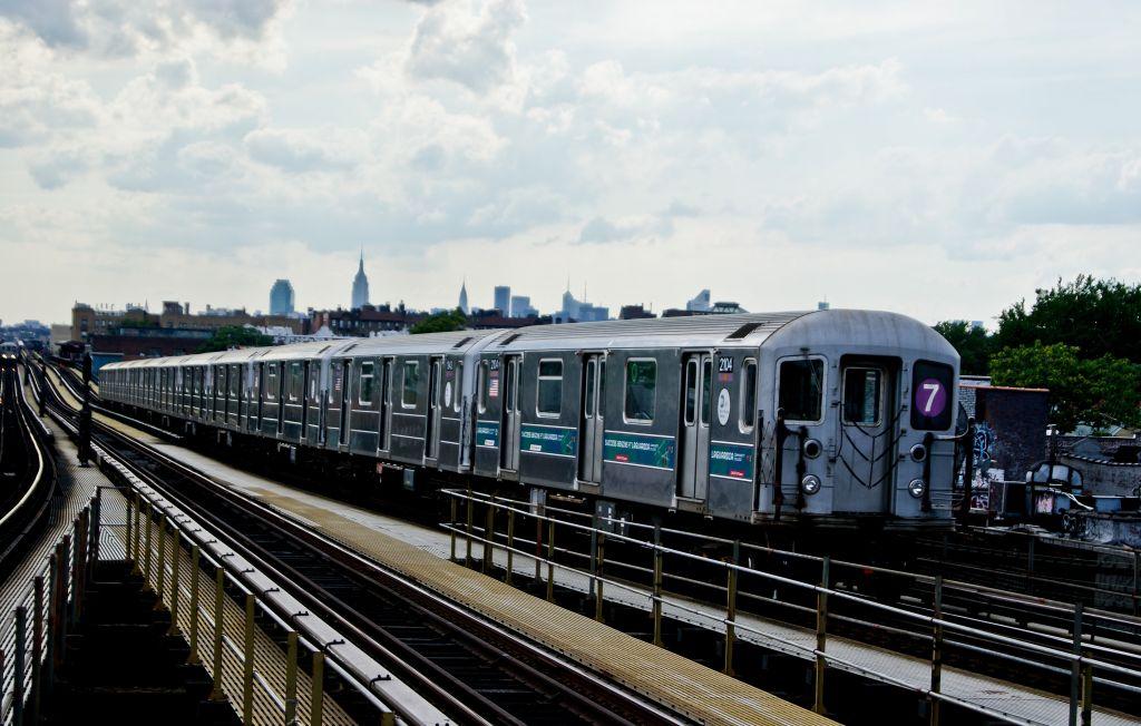 (148k, 1024x652)<br><b>Country:</b> United States<br><b>City:</b> New York<br><b>System:</b> New York City Transit<br><b>Line:</b> IRT Flushing Line<br><b>Location:</b> Junction Boulevard <br><b>Route:</b> 7<br><b>Car:</b> R-62A (Bombardier, 1984-1987)  2104 <br><b>Photo by:</b> Robert Fein<br><b>Date:</b> 6/29/2010<br><b>Viewed (this week/total):</b> 1 / 831