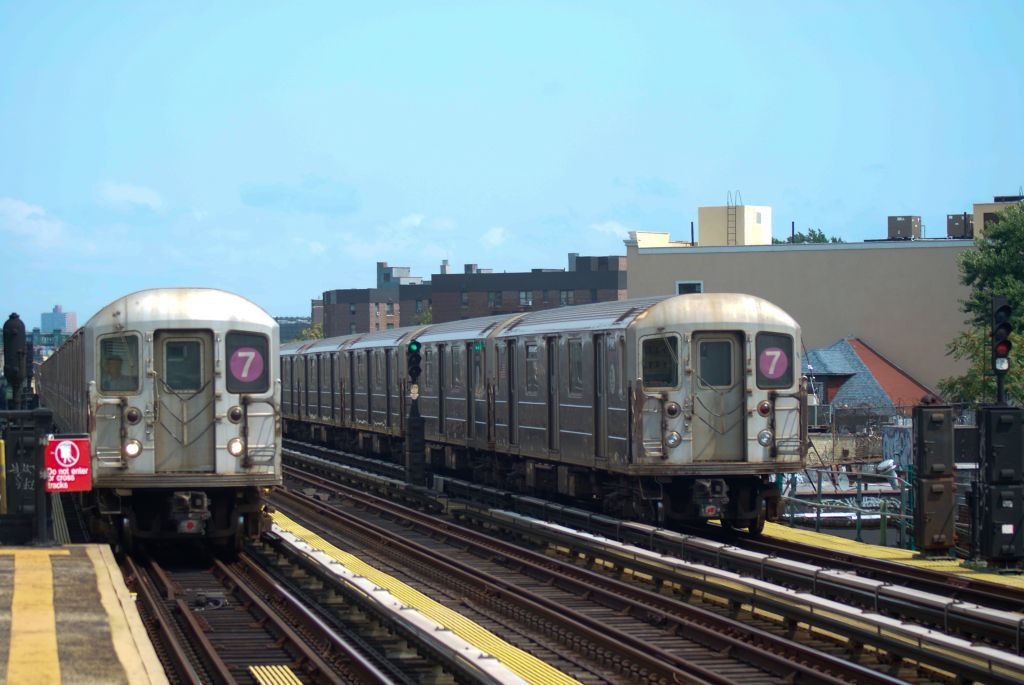 (133k, 1024x685)<br><b>Country:</b> United States<br><b>City:</b> New York<br><b>System:</b> New York City Transit<br><b>Line:</b> IRT Flushing Line<br><b>Location:</b> 82nd Street/Jackson Heights <br><b>Route:</b> 7<br><b>Car:</b> R-62A (Bombardier, 1984-1987)   <br><b>Photo by:</b> Robert Fein<br><b>Date:</b> 8/21/2011<br><b>Viewed (this week/total):</b> 6 / 814