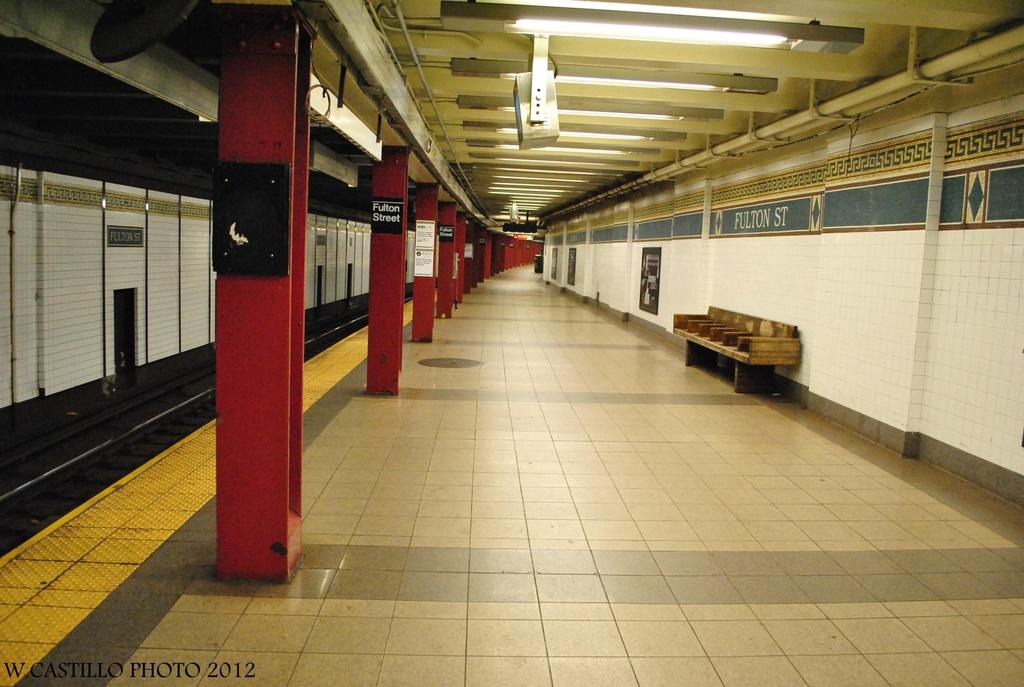 (292k, 1024x687)<br><b>Country:</b> United States<br><b>City:</b> New York<br><b>System:</b> New York City Transit<br><b>Line:</b> BMT Nassau Street/Jamaica Line<br><b>Location:</b> Fulton Street <br><b>Photo by:</b> Wilfredo Castillo<br><b>Date:</b> 8/8/2012<br><b>Viewed (this week/total):</b> 0 / 1399