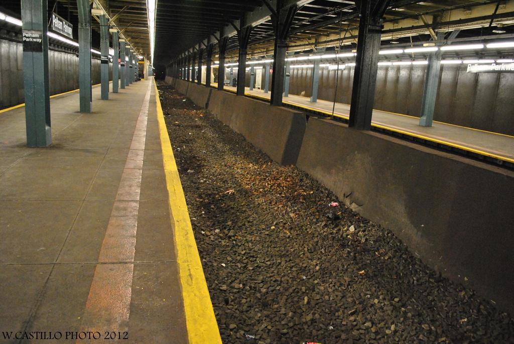 (349k, 1024x687)<br><b>Country:</b> United States<br><b>City:</b> New York<br><b>System:</b> New York City Transit<br><b>Line:</b> IRT Dyre Ave. Line<br><b>Location:</b> Pelham Parkway <br><b>Photo by:</b> Wilfredo Castillo<br><b>Date:</b> 8/8/2012<br><b>Notes:</b> Former express trackway.<br><b>Viewed (this week/total):</b> 1 / 1777