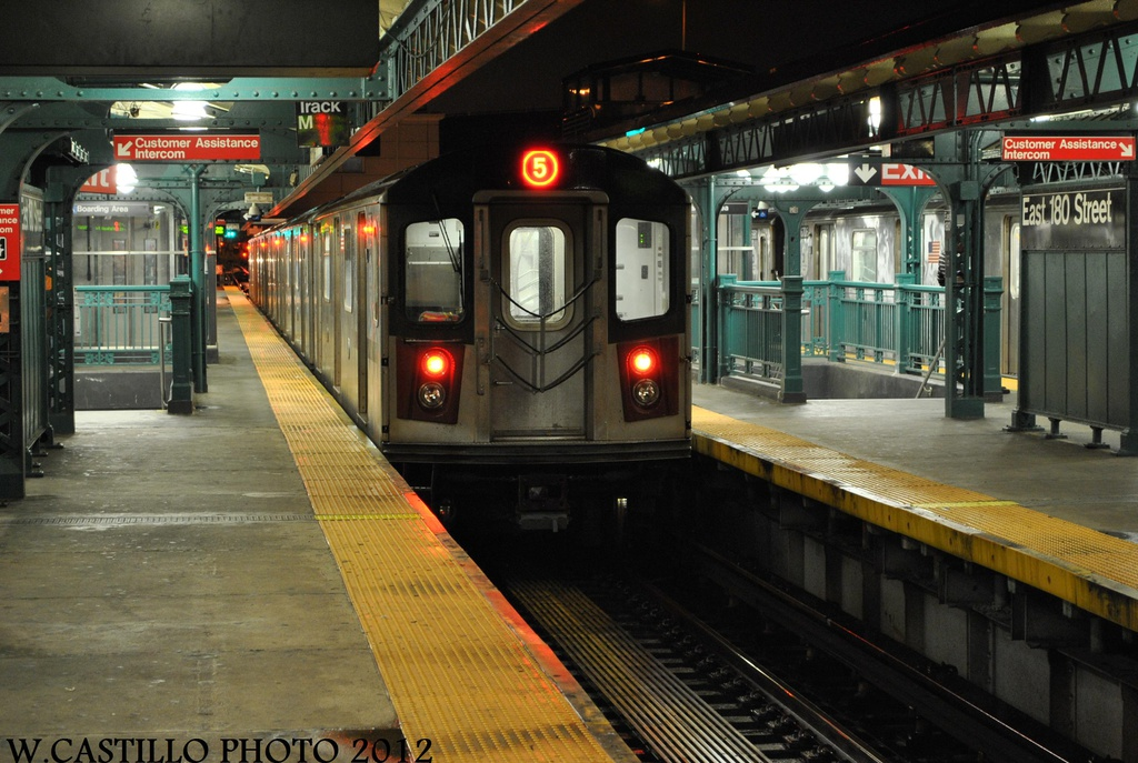 (328k, 1024x687)<br><b>Country:</b> United States<br><b>City:</b> New York<br><b>System:</b> New York City Transit<br><b>Line:</b> IRT White Plains Road Line<br><b>Location:</b> East 180th Street <br><b>Route:</b> 5<br><b>Car:</b> R-142 or R-142A (Number Unknown)  <br><b>Photo by:</b> Wilfredo Castillo<br><b>Date:</b> 8/18/2012<br><b>Viewed (this week/total):</b> 0 / 1283