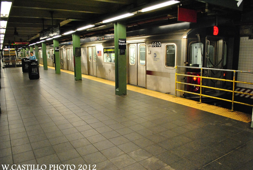 (310k, 1024x687)<br><b>Country:</b> United States<br><b>City:</b> New York<br><b>System:</b> New York City Transit<br><b>Line:</b> IRT West Side Line<br><b>Location:</b> Times Square/42nd Street <br><b>Route:</b> 2<br><b>Car:</b> R-142 (Primary Order, Bombardier, 1999-2002)  6610 <br><b>Photo by:</b> Wilfredo Castillo<br><b>Date:</b> 8/18/2012<br><b>Viewed (this week/total):</b> 3 / 1254
