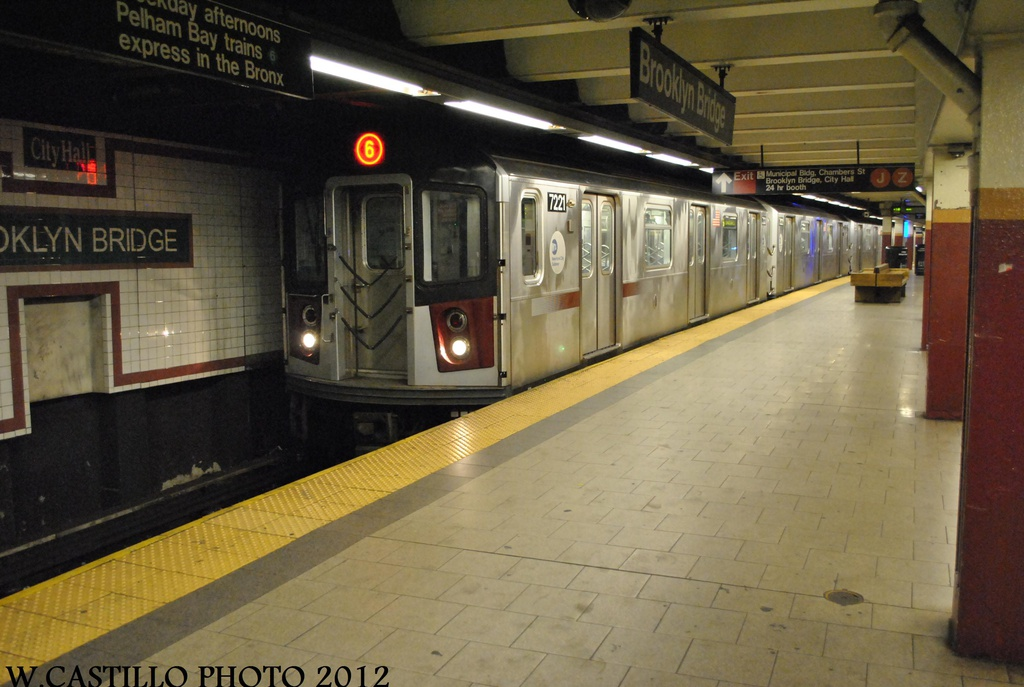 (274k, 1024x687)<br><b>Country:</b> United States<br><b>City:</b> New York<br><b>System:</b> New York City Transit<br><b>Line:</b> IRT East Side Line<br><b>Location:</b> Brooklyn Bridge/City Hall <br><b>Route:</b> 6<br><b>Car:</b> R-142A (Primary Order, Kawasaki, 1999-2002)  7221 <br><b>Photo by:</b> Wilfredo Castillo<br><b>Date:</b> 8/23/2012<br><b>Viewed (this week/total):</b> 1 / 1168