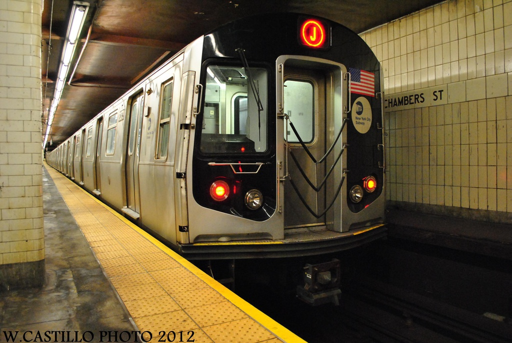 (298k, 1024x687)<br><b>Country:</b> United States<br><b>City:</b> New York<br><b>System:</b> New York City Transit<br><b>Line:</b> BMT Nassau Street/Jamaica Line<br><b>Location:</b> Chambers Street <br><b>Route:</b> J<br><b>Car:</b> R-160A-1 (Alstom, 2005-2008, 4 car sets)  8373 <br><b>Photo by:</b> Wilfredo Castillo<br><b>Date:</b> 8/23/2012<br><b>Viewed (this week/total):</b> 2 / 1172
