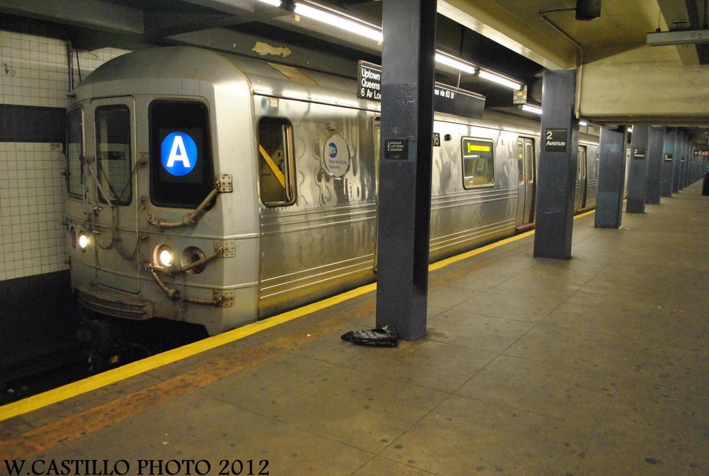 (274k, 1024x687)<br><b>Country:</b> United States<br><b>City:</b> New York<br><b>System:</b> New York City Transit<br><b>Line:</b> IND 6th Avenue Line<br><b>Location:</b> 2nd Avenue <br><b>Route:</b> A reroute<br><b>Car:</b> R-46 (Pullman-Standard, 1974-75) 6016 <br><b>Photo by:</b> Wilfredo Castillo<br><b>Date:</b> 8/23/2012<br><b>Viewed (this week/total):</b> 0 / 732
