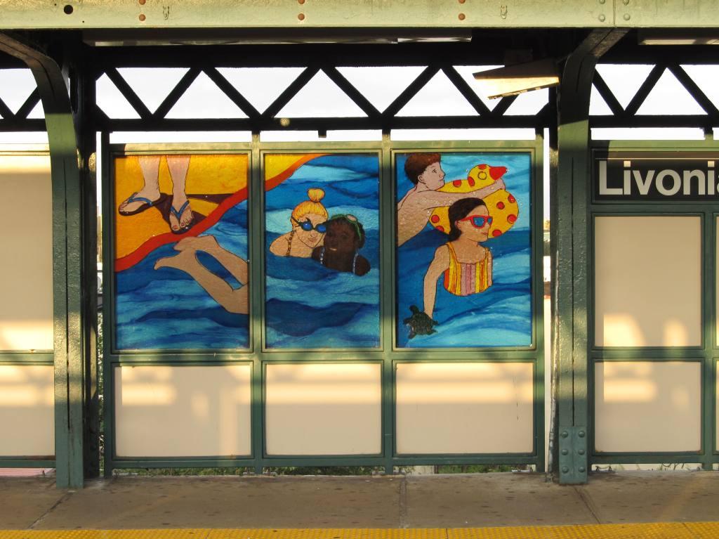 (136k, 1024x767)<br><b>Country:</b> United States<br><b>City:</b> New York<br><b>System:</b> New York City Transit<br><b>Line:</b> BMT Canarsie Line<br><b>Location:</b> Livonia Avenue <br><b>Photo by:</b> Robbie Rosenfeld<br><b>Date:</b> 8/27/2012<br><b>Artwork:</b> <i>Seasons</i>, Philemona Williamson (2007).<br><b>Viewed (this week/total):</b> 0 / 1217