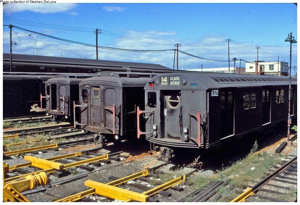 (450k, 1044x715)<br><b>Country:</b> United States<br><b>City:</b> New York<br><b>System:</b> New York City Transit<br><b>Location:</b> Rockaway Parkway (Canarsie) Yard<br><b>Car:</b> R-16 (American Car & Foundry, 1955) 6322 <br><b>Collection of:</b> Stephen DeLuca<br><b>Viewed (this week/total):</b> 2 / 1511