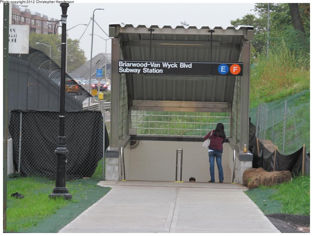 (315k, 1044x788)<br><b>Country:</b> United States<br><b>City:</b> New York<br><b>System:</b> New York City Transit<br><b>Line:</b> IND Queens Boulevard Line<br><b>Location:</b> Briarwood/Van Wyck Boulevard <br><b>Photo by:</b> Christopher Henderson<br><b>Date:</b> 10/3/2012<br><b>Notes:</b> New Van Wyck Blvd entrance.<br><b>Viewed (this week/total):</b> 9 / 2581