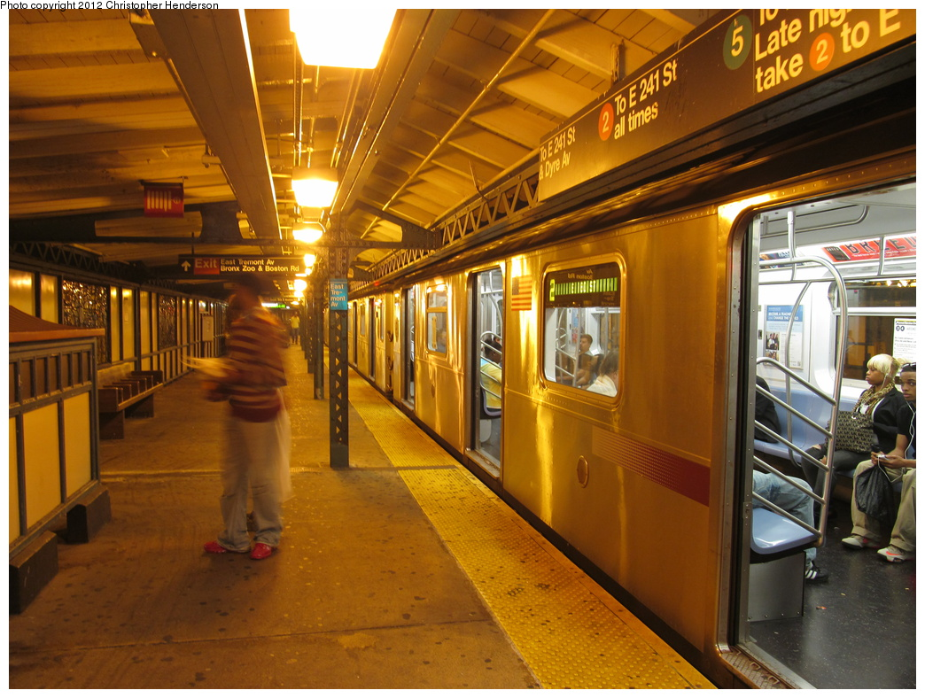 (365k, 1044x788)<br><b>Country:</b> United States<br><b>City:</b> New York<br><b>System:</b> New York City Transit<br><b>Line:</b> IRT White Plains Road Line<br><b>Location:</b> West Farms Sq./East Tremont Ave./177th St. <br><b>Route:</b> 2<br><b>Car:</b> R-142A (Supplemental Order, Kawasaki, 2003-2004)  7755 <br><b>Photo by:</b> Christopher Henderson<br><b>Date:</b> 10/6/2012<br><b>Viewed (this week/total):</b> 1 / 1584