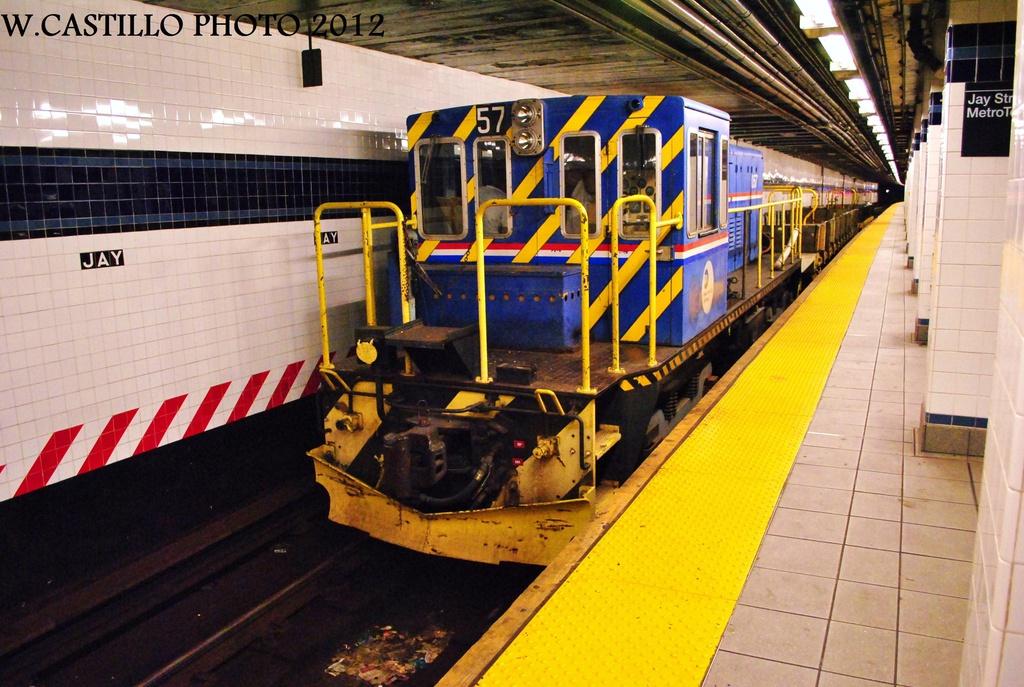 (348k, 1024x687)<br><b>Country:</b> United States<br><b>City:</b> New York<br><b>System:</b> New York City Transit<br><b>Line:</b> IND 8th Avenue Line<br><b>Location:</b> Jay St./Metrotech (Borough Hall) <br><b>Route:</b> Work Service<br><b>Car:</b> R-41 Locomotive  57 <br><b>Photo by:</b> Wilfredo Castillo<br><b>Date:</b> 9/23/2012<br><b>Viewed (this week/total):</b> 2 / 1152