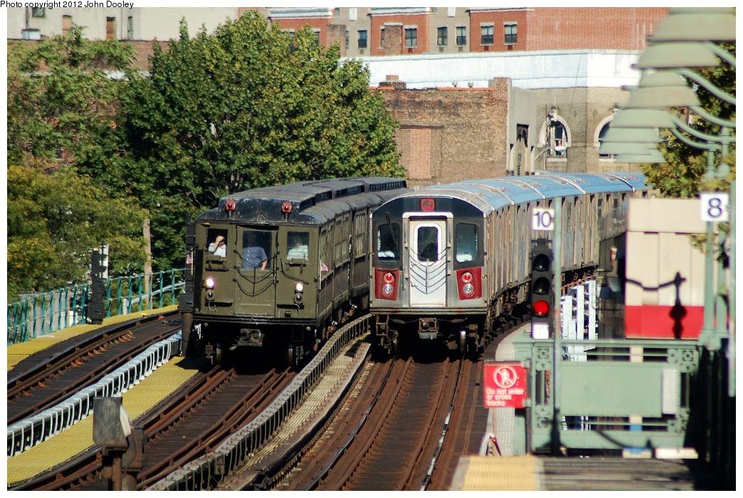(435k, 1044x700)<br><b>Country:</b> United States<br><b>City:</b> New York<br><b>System:</b> New York City Transit<br><b>Line:</b> IRT White Plains Road Line<br><b>Location:</b> Jackson Avenue <br><b>Route:</b> Fan Trip<br><b>Car:</b> Low-V (Museum Train) 5443 <br><b>Photo by:</b> John Dooley<br><b>Date:</b> 10/11/2012<br><b>Viewed (this week/total):</b> 3 / 1108