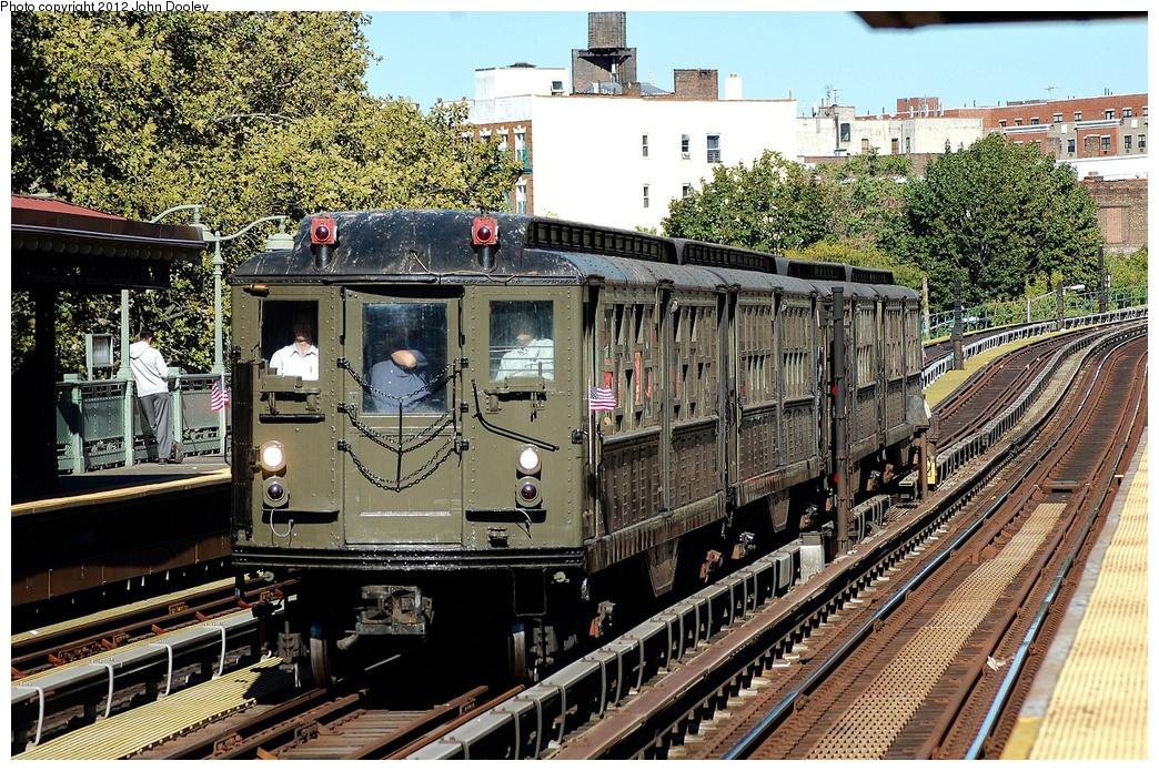(482k, 1044x695)<br><b>Country:</b> United States<br><b>City:</b> New York<br><b>System:</b> New York City Transit<br><b>Line:</b> IRT White Plains Road Line<br><b>Location:</b> Jackson Avenue <br><b>Route:</b> Fan Trip<br><b>Car:</b> Low-V (Museum Train) 5443 <br><b>Photo by:</b> John Dooley<br><b>Date:</b> 10/11/2012<br><b>Viewed (this week/total):</b> 2 / 904