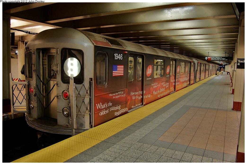(353k, 1044x698)<br><b>Country:</b> United States<br><b>City:</b> New York<br><b>System:</b> New York City Transit<br><b>Line:</b> IRT Times Square-Grand Central Shuttle<br><b>Location:</b> Grand Central <br><b>Route:</b> S<br><b>Car:</b> R-62A (Bombardier, 1984-1987)  1946 <br><b>Photo by:</b> John Dooley<br><b>Date:</b> 10/11/2012<br><b>Viewed (this week/total):</b> 0 / 642
