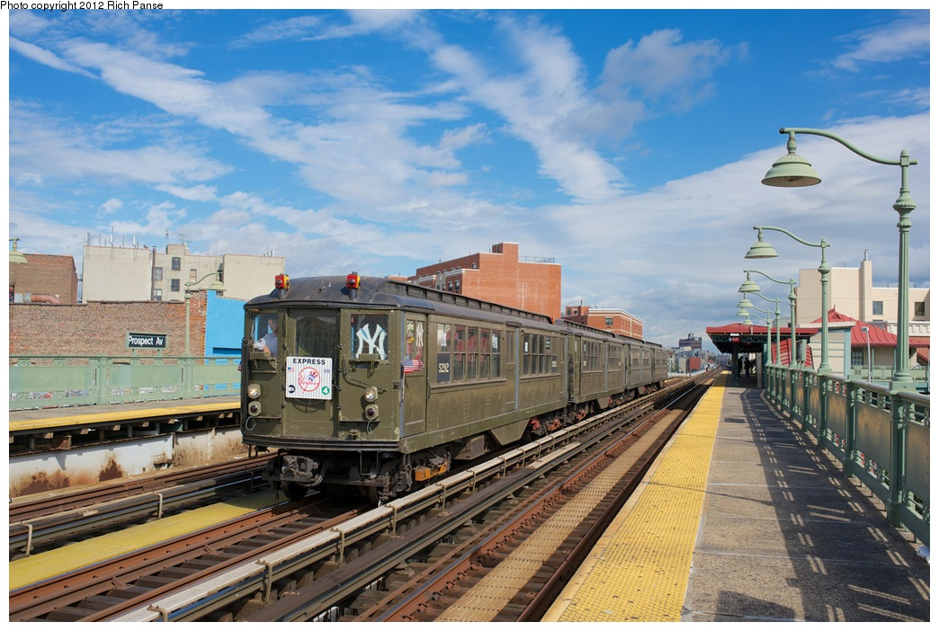 (296k, 1044x702)<br><b>Country:</b> United States<br><b>City:</b> New York<br><b>System:</b> New York City Transit<br><b>Line:</b> IRT White Plains Road Line<br><b>Location:</b> Prospect Avenue <br><b>Route:</b> Fan Trip<br><b>Car:</b> Low-V (Museum Train) 5292 <br><b>Photo by:</b> Richard Panse<br><b>Date:</b> 10/13/2012<br><b>Viewed (this week/total):</b> 2 / 1008
