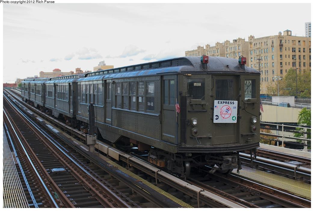 (265k, 1044x703)<br><b>Country:</b> United States<br><b>City:</b> New York<br><b>System:</b> New York City Transit<br><b>Line:</b> IRT Woodlawn Line<br><b>Location:</b> 161st Street/River Avenue (Yankee Stadium) <br><b>Route:</b> Fan Trip<br><b>Car:</b> Low-V (Museum Train) 5443 <br><b>Photo by:</b> Richard Panse<br><b>Date:</b> 10/13/2012<br><b>Viewed (this week/total):</b> 2 / 823