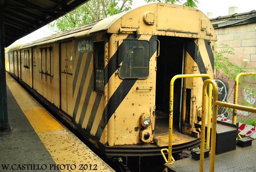 (350k, 1024x687)<br><b>Country:</b> United States<br><b>City:</b> New York<br><b>System:</b> New York City Transit<br><b>Line:</b> BMT Brighton Line<br><b>Location:</b> Sheepshead Bay <br><b>Route:</b> Work Service<br><b>Car:</b> R-123 Continuous Welded Rail Handler (R17/R21/R22 Rebuilds) DCR01 (ex-7303)<br><b>Photo by:</b> Wilfredo Castillo<br><b>Date:</b> 10/15/2012<br><b>Viewed (this week/total):</b> 3 / 1485