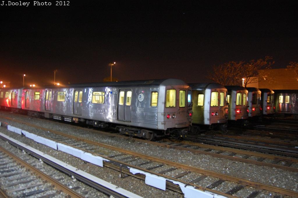 (281k, 1024x680)<br><b>Country:</b> United States<br><b>City:</b> New York<br><b>System:</b> New York City Transit<br><b>Location:</b> Rockaway Park Yard<br><b>Car:</b> R-46 (Pullman-Standard, 1974-75) 5872 <br><b>Photo by:</b> John Dooley<br><b>Date:</b> 10/22/2012<br><b>Viewed (this week/total):</b> 2 / 1069