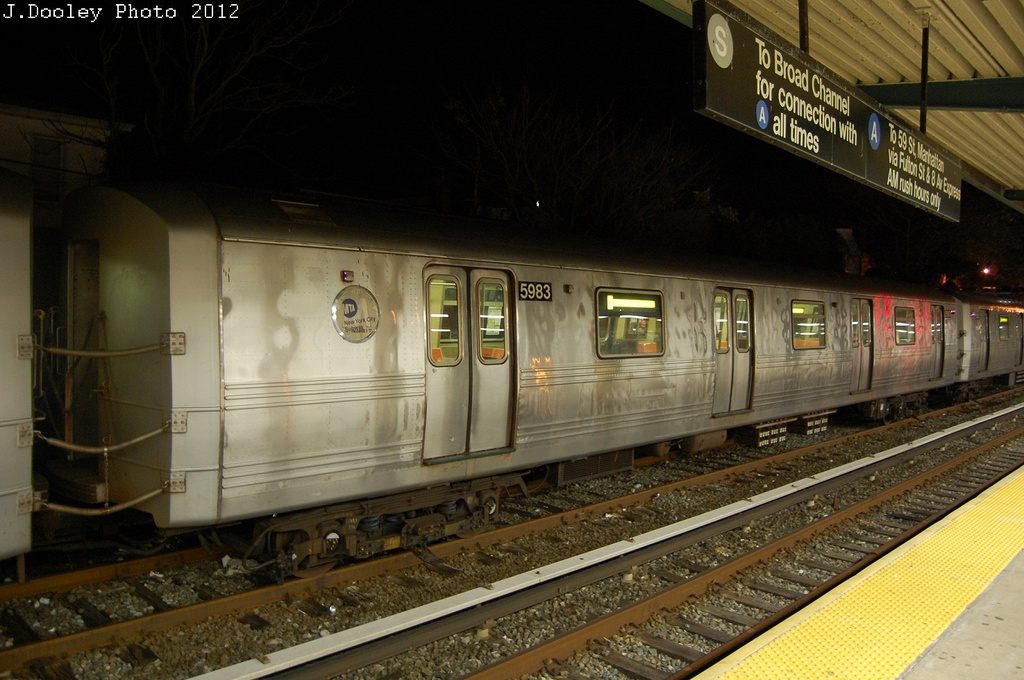 (297k, 1024x680)<br><b>Country:</b> United States<br><b>City:</b> New York<br><b>System:</b> New York City Transit<br><b>Location:</b> Rockaway Park Yard<br><b>Car:</b> R-46 (Pullman-Standard, 1974-75) 5983 <br><b>Photo by:</b> John Dooley<br><b>Date:</b> 10/23/2012<br><b>Viewed (this week/total):</b> 4 / 949