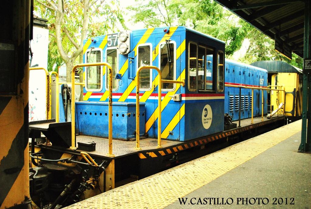 (413k, 1024x687)<br><b>Country:</b> United States<br><b>City:</b> New York<br><b>System:</b> New York City Transit<br><b>Line:</b> BMT Brighton Line<br><b>Location:</b> Sheepshead Bay <br><b>Route:</b> Work Service<br><b>Car:</b> R-41 Locomotive  57 <br><b>Photo by:</b> Wilfredo Castillo<br><b>Date:</b> 10/15/2012<br><b>Viewed (this week/total):</b> 2 / 819