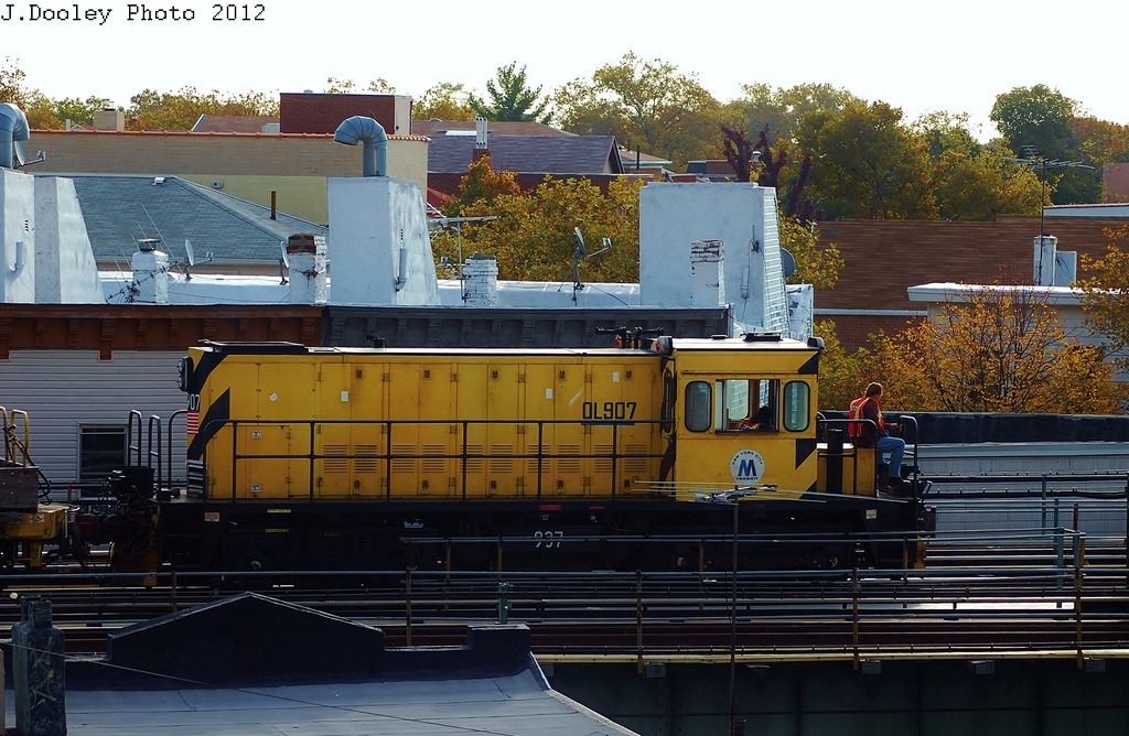 (340k, 1024x668)<br><b>Country:</b> United States<br><b>City:</b> New York<br><b>System:</b> New York City Transit<br><b>Line:</b> BMT West End Line<br><b>Location:</b> 62nd Street <br><b>Route:</b> Work Service<br><b>Car:</b> R-120 Locomotive  907 <br><b>Photo by:</b> John Dooley<br><b>Date:</b> 10/26/2012<br><b>Viewed (this week/total):</b> 0 / 433