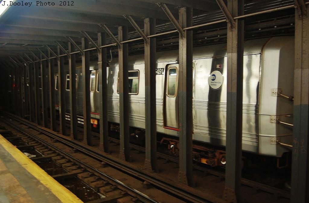 (350k, 1024x674)<br><b>Country:</b> United States<br><b>City:</b> New York<br><b>System:</b> New York City Transit<br><b>Line:</b> BMT 4th Avenue<br><b>Location:</b> 53rd Street <br><b>Route:</b> Layup<br><b>Car:</b> R-46 (Pullman-Standard, 1974-75) 5491 <br><b>Photo by:</b> John Dooley<br><b>Date:</b> 11/1/2012<br><b>Notes:</b> Hurricane Sandy layup<br><b>Viewed (this week/total):</b> 1 / 1005