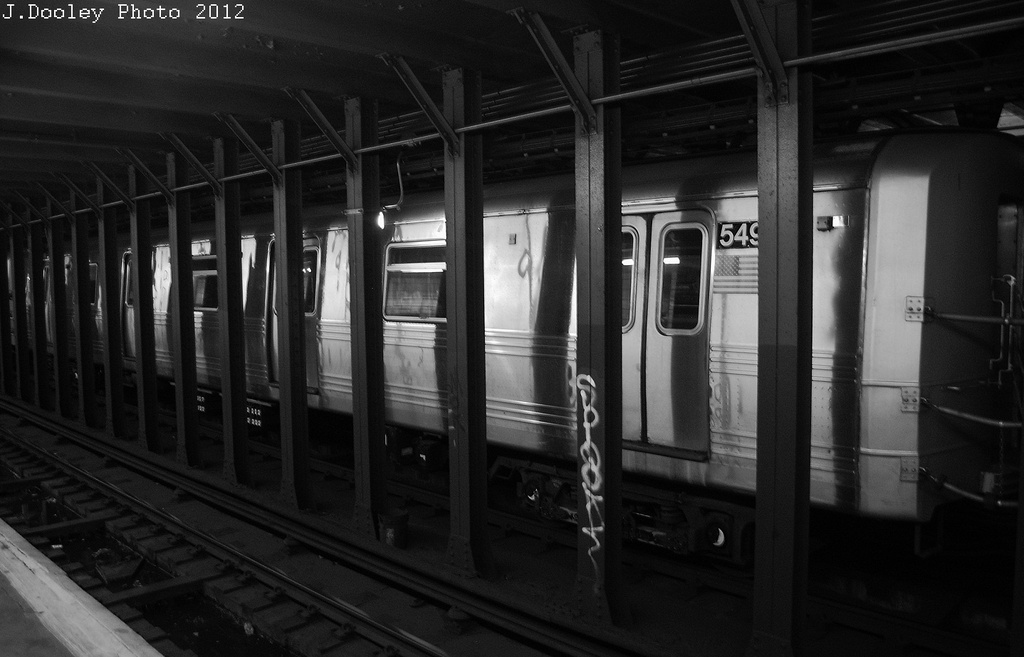 (247k, 1024x657)<br><b>Country:</b> United States<br><b>City:</b> New York<br><b>System:</b> New York City Transit<br><b>Line:</b> BMT 4th Avenue<br><b>Location:</b> 53rd Street <br><b>Route:</b> Layup<br><b>Car:</b> R-46 (Pullman-Standard, 1974-75) 5493 <br><b>Photo by:</b> John Dooley<br><b>Date:</b> 11/1/2012<br><b>Notes:</b> Hurricane Sandy layup<br><b>Viewed (this week/total):</b> 1 / 813
