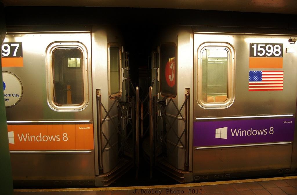 (261k, 1024x675)<br><b>Country:</b> United States<br><b>City:</b> New York<br><b>System:</b> New York City Transit<br><b>Line:</b> IRT Brooklyn Line<br><b>Location:</b> Borough Hall (East Side Branch) <br><b>Route:</b> 4<br><b>Car:</b> R-62 (Kawasaki, 1983-1985)  1597 <br><b>Photo by:</b> John Dooley<br><b>Date:</b> 11/2/2012<br><b>Notes:</b> Post-Sandy: #3 line cars used on #4<br><b>Viewed (this week/total):</b> 2 / 886