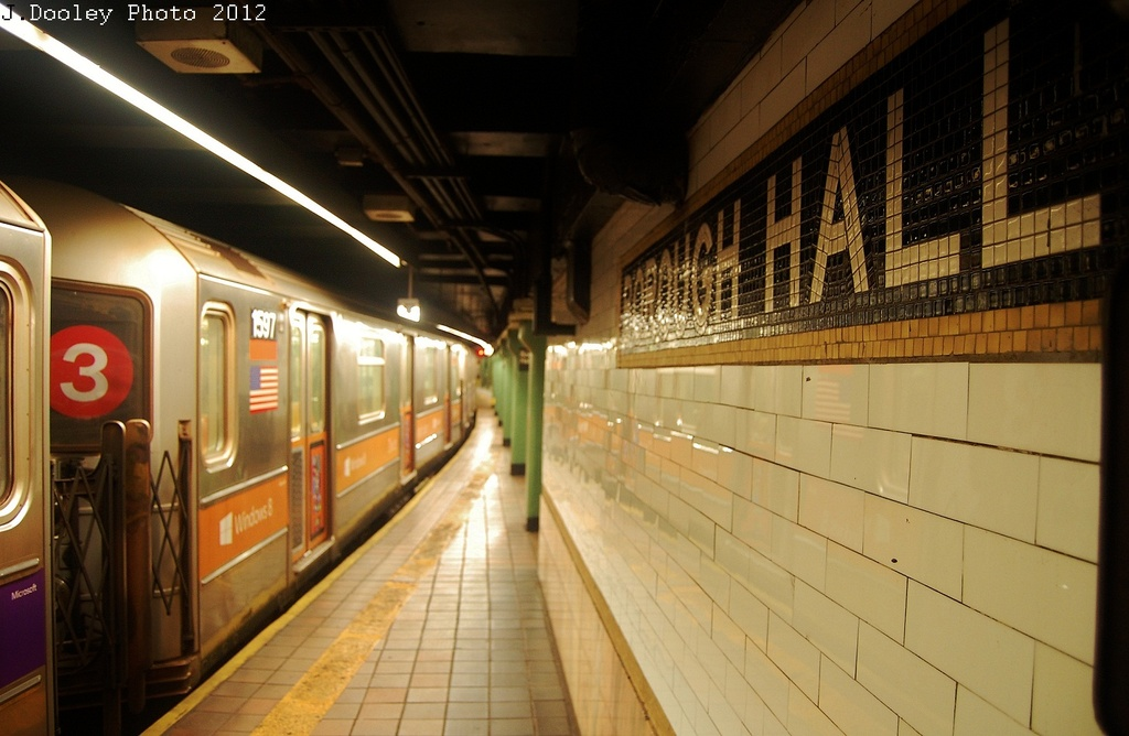 (279k, 1024x668)<br><b>Country:</b> United States<br><b>City:</b> New York<br><b>System:</b> New York City Transit<br><b>Line:</b> IRT Brooklyn Line<br><b>Location:</b> Borough Hall (East Side Branch) <br><b>Route:</b> 4<br><b>Car:</b> R-62 (Kawasaki, 1983-1985)  1597 <br><b>Photo by:</b> John Dooley<br><b>Date:</b> 11/2/2012<br><b>Notes:</b> Post-Sandy: #3 line cars used on #4<br><b>Viewed (this week/total):</b> 0 / 895