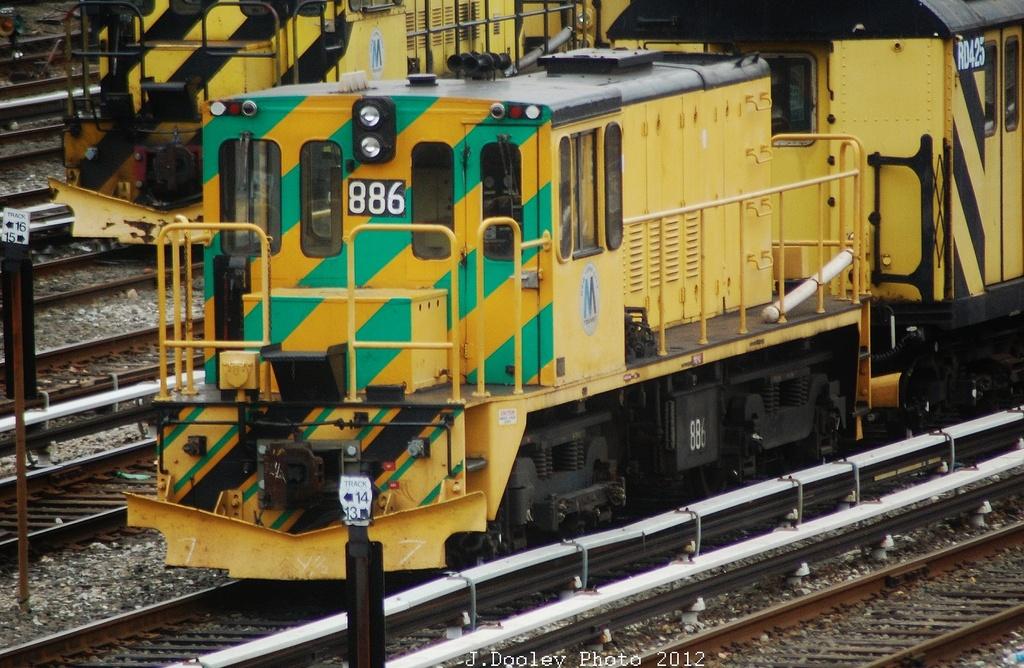 (371k, 1024x668)<br><b>Country:</b> United States<br><b>City:</b> New York<br><b>System:</b> New York City Transit<br><b>Location:</b> 36th Street Yard<br><b>Route:</b> Work Service<br><b>Car:</b> R-77 Locomotive  886 <br><b>Photo by:</b> John Dooley<br><b>Date:</b> 10/28/2012<br><b>Viewed (this week/total):</b> 1 / 490