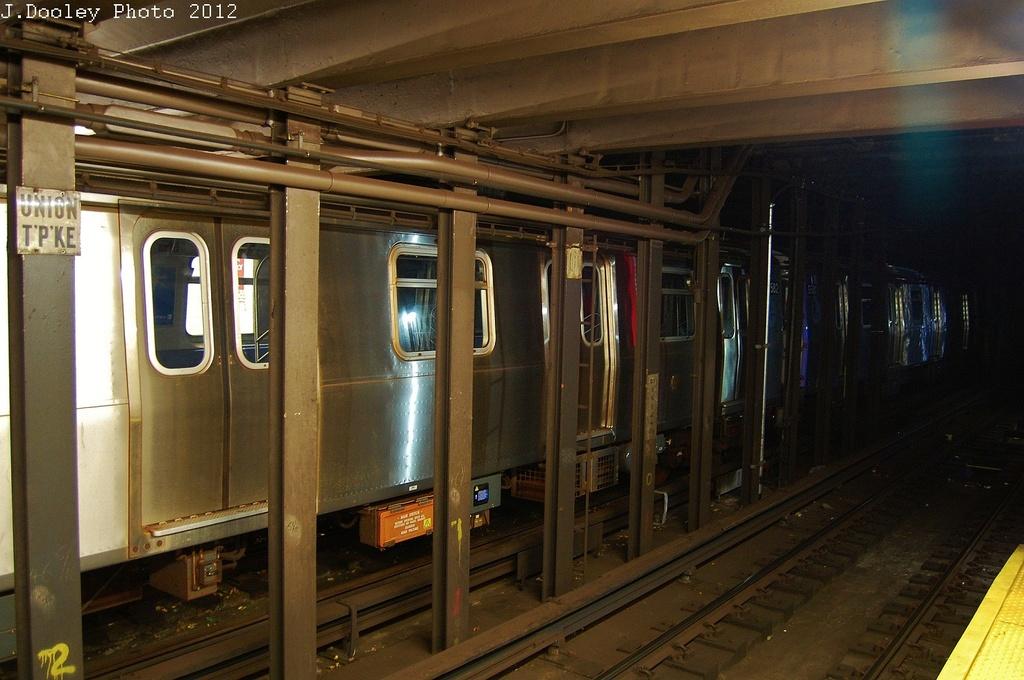 (315k, 1024x680)<br><b>Country:</b> United States<br><b>City:</b> New York<br><b>System:</b> New York City Transit<br><b>Line:</b> IND Queens Boulevard Line<br><b>Location:</b> Union Turnpike/Kew Gardens <br><b>Route:</b> Layup<br><b>Car:</b> R-160A/R-160B Series (Number Unknown)  <br><b>Photo by:</b> John Dooley<br><b>Date:</b> 11/4/2012<br><b>Notes:</b> Post-Sandy layup<br><b>Viewed (this week/total):</b> 2 / 1487