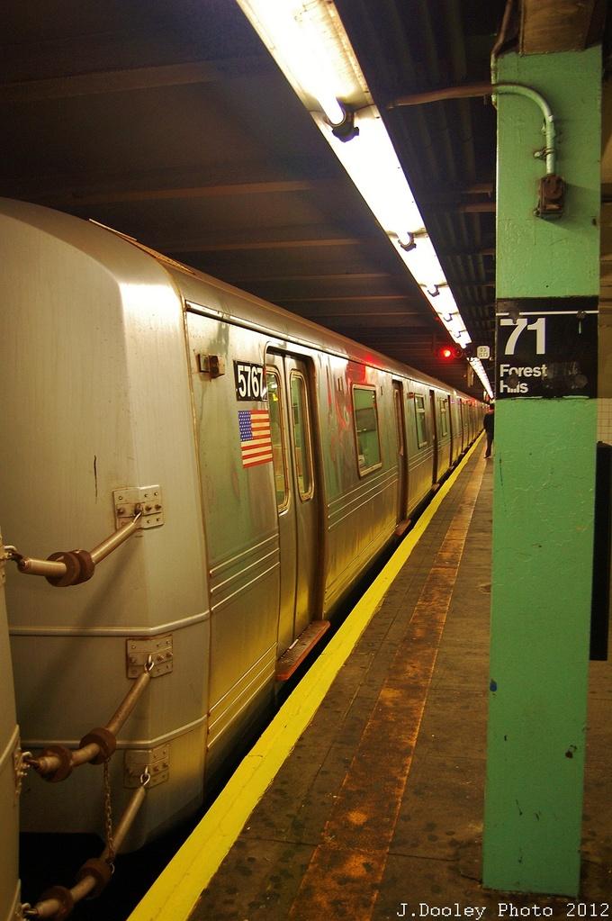 (305k, 680x1023)<br><b>Country:</b> United States<br><b>City:</b> New York<br><b>System:</b> New York City Transit<br><b>Line:</b> IND Queens Boulevard Line<br><b>Location:</b> 71st/Continental Aves./Forest Hills <br><b>Route:</b> Layup<br><b>Car:</b> R-46 (Pullman-Standard, 1974-75) 5767 <br><b>Photo by:</b> John Dooley<br><b>Date:</b> 11/4/2012<br><b>Notes:</b> Post-Sandy layup<br><b>Viewed (this week/total):</b> 1 / 789