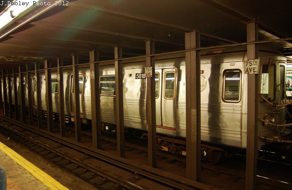 (292k, 1024x668)<br><b>Country:</b> United States<br><b>City:</b> New York<br><b>System:</b> New York City Transit<br><b>Line:</b> IND Queens Boulevard Line<br><b>Location:</b> 75th Avenue <br><b>Route:</b> Layup<br><b>Car:</b> R-46 (Pullman-Standard, 1974-75) 5818 <br><b>Photo by:</b> John Dooley<br><b>Date:</b> 11/4/2012<br><b>Notes:</b> Post-Sandy layup<br><b>Viewed (this week/total):</b> 1 / 1346