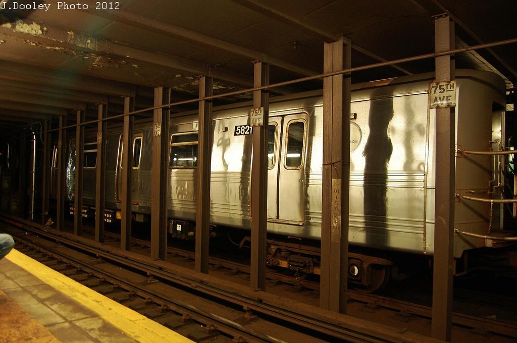 (312k, 1024x680)<br><b>Country:</b> United States<br><b>City:</b> New York<br><b>System:</b> New York City Transit<br><b>Line:</b> IND Queens Boulevard Line<br><b>Location:</b> 75th Avenue <br><b>Route:</b> Layup<br><b>Car:</b> R-46 (Pullman-Standard, 1974-75) 5821 <br><b>Photo by:</b> John Dooley<br><b>Date:</b> 11/4/2012<br><b>Notes:</b> Post-Sandy layup<br><b>Viewed (this week/total):</b> 2 / 1137