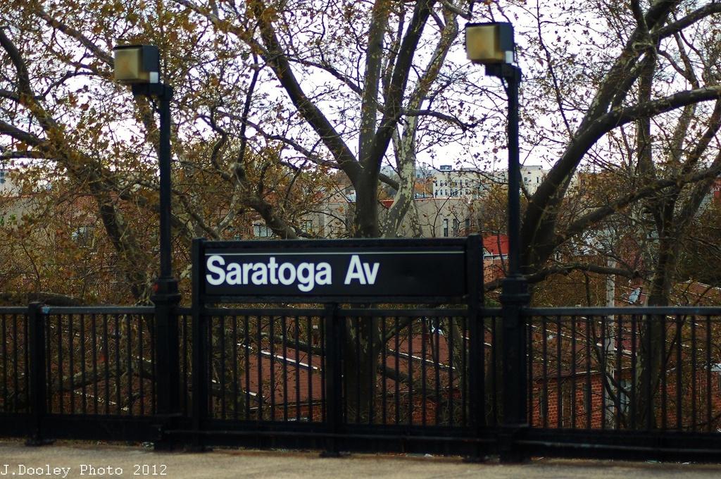 (457k, 1024x680)<br><b>Country:</b> United States<br><b>City:</b> New York<br><b>System:</b> New York City Transit<br><b>Line:</b> IRT Brooklyn Line<br><b>Location:</b> Saratoga Avenue <br><b>Photo by:</b> John Dooley<br><b>Date:</b> 11/1/2012<br><b>Viewed (this week/total):</b> 3 / 841