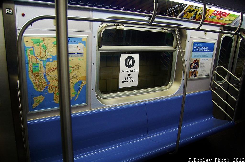 (324k, 1024x680)<br><b>Country:</b> United States<br><b>City:</b> New York<br><b>System:</b> New York City Transit<br><b>Route:</b> M<br><b>Car:</b> R-160A/R-160B Series (Number Unknown)  <br><b>Photo by:</b> John Dooley<br><b>Date:</b> 11/2/2012<br><b>Notes:</b> Post-Sandy temporary service.<br><b>Viewed (this week/total):</b> 1 / 1219