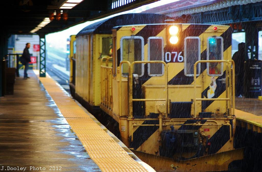(336k, 1024x675)<br><b>Country:</b> United States<br><b>City:</b> New York<br><b>System:</b> New York City Transit<br><b>Line:</b> BMT West End Line<br><b>Location:</b> 62nd Street <br><b>Route:</b> Work Service<br><b>Car:</b> R-52 Locomotive  76 <br><b>Photo by:</b> John Dooley<br><b>Date:</b> 11/7/2012<br><b>Notes:</b> De-Icer train.<br><b>Viewed (this week/total):</b> 2 / 642