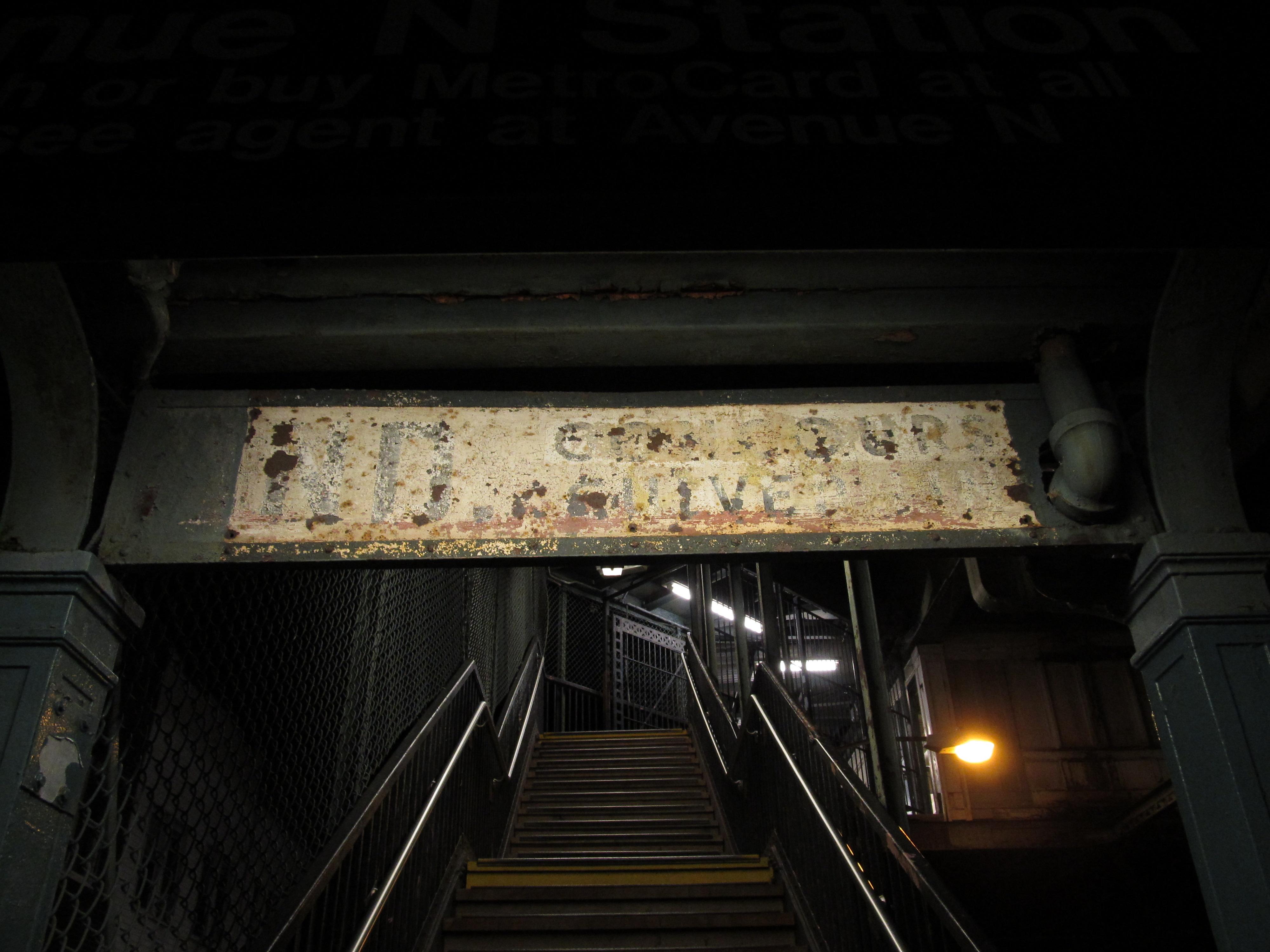 (2033k, 4000x3000)<br><b>Country:</b> United States<br><b>City:</b> New York<br><b>System:</b> New York City Transit<br><b>Line:</b> BMT Culver Line<br><b>Location:</b> Avenue N <br><b>Photo by:</b> Robbie Rosenfeld<br><b>Date:</b> 9/13/2012<br><b>Notes:</b> Old signage.<br><b>Viewed (this week/total):</b> 0 / 1412