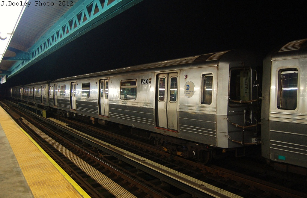 (289k, 1024x661)<br><b>Country:</b> United States<br><b>City:</b> New York<br><b>System:</b> New York City Transit<br><b>Line:</b> BMT West End Line<br><b>Location:</b> 18th Avenue <br><b>Car:</b> R-68 (Westinghouse-Amrail, 1986-1988)  2510 <br><b>Photo by:</b> John Dooley<br><b>Date:</b> 11/12/2012<br><b>Notes:</b> Post-Sandy layups due to Coney Island Yard cleanup<br><b>Viewed (this week/total):</b> 0 / 998