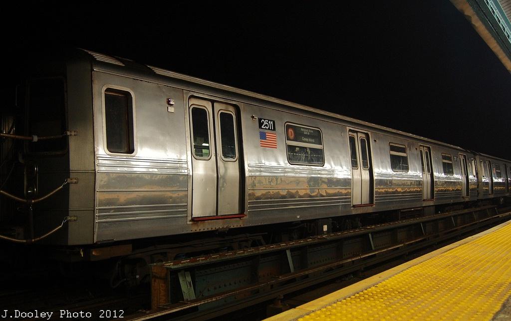(269k, 1024x643)<br><b>Country:</b> United States<br><b>City:</b> New York<br><b>System:</b> New York City Transit<br><b>Line:</b> BMT West End Line<br><b>Location:</b> 18th Avenue <br><b>Car:</b> R-68 (Westinghouse-Amrail, 1986-1988)  2511 <br><b>Photo by:</b> John Dooley<br><b>Date:</b> 11/12/2012<br><b>Notes:</b> Post-Sandy layups due to Coney Island Yard cleanup<br><b>Viewed (this week/total):</b> 2 / 845