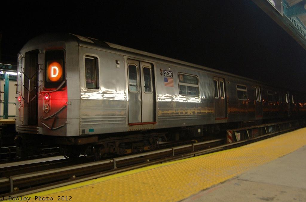 (259k, 1024x676)<br><b>Country:</b> United States<br><b>City:</b> New York<br><b>System:</b> New York City Transit<br><b>Line:</b> BMT West End Line<br><b>Location:</b> 79th Street <br><b>Car:</b> R-68 (Westinghouse-Amrail, 1986-1988)  2526 <br><b>Photo by:</b> John Dooley<br><b>Date:</b> 11/12/2012<br><b>Notes:</b> Post-Sandy layups due to Coney Island Yard cleanup<br><b>Viewed (this week/total):</b> 4 / 874