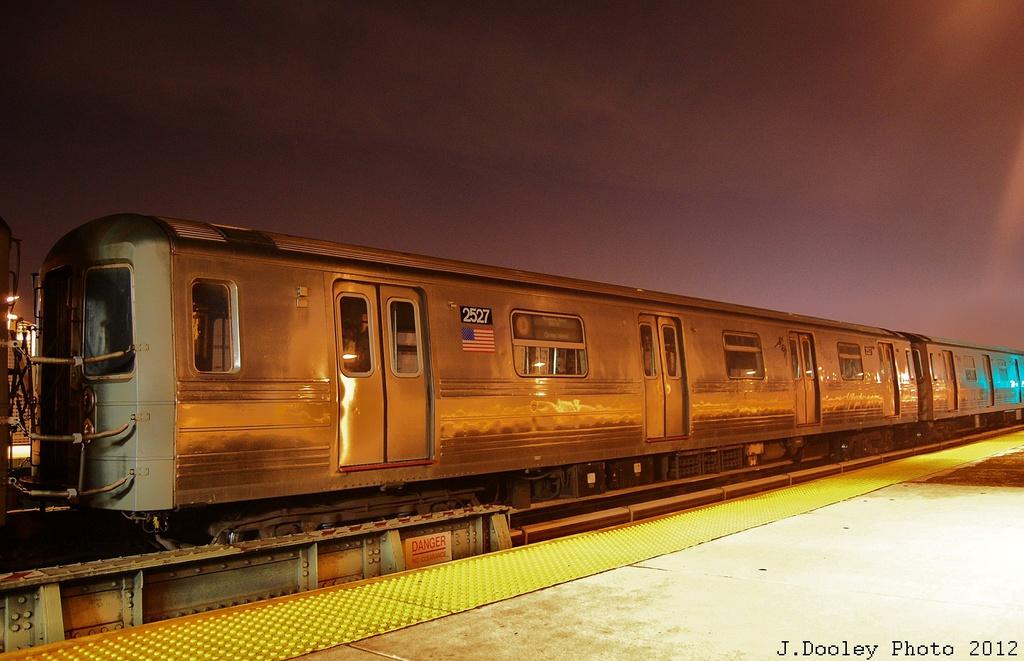 (297k, 1024x661)<br><b>Country:</b> United States<br><b>City:</b> New York<br><b>System:</b> New York City Transit<br><b>Line:</b> BMT West End Line<br><b>Location:</b> 79th Street <br><b>Car:</b> R-68 (Westinghouse-Amrail, 1986-1988)  2527 <br><b>Photo by:</b> John Dooley<br><b>Date:</b> 11/12/2012<br><b>Notes:</b> Post-Sandy layups due to Coney Island Yard cleanup<br><b>Viewed (this week/total):</b> 0 / 1051