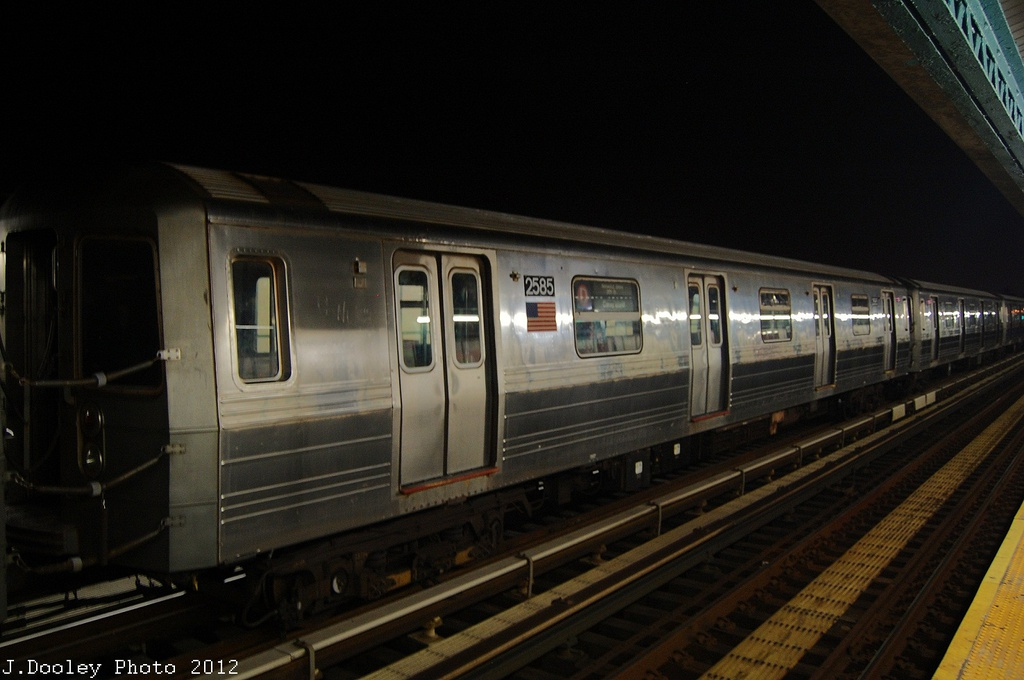 (253k, 1024x680)<br><b>Country:</b> United States<br><b>City:</b> New York<br><b>System:</b> New York City Transit<br><b>Line:</b> BMT West End Line<br><b>Location:</b> 79th Street <br><b>Car:</b> R-68 (Westinghouse-Amrail, 1986-1988)  2585 <br><b>Photo by:</b> John Dooley<br><b>Date:</b> 11/12/2012<br><b>Notes:</b> Post-Sandy layups due to Coney Island Yard cleanup<br><b>Viewed (this week/total):</b> 0 / 736