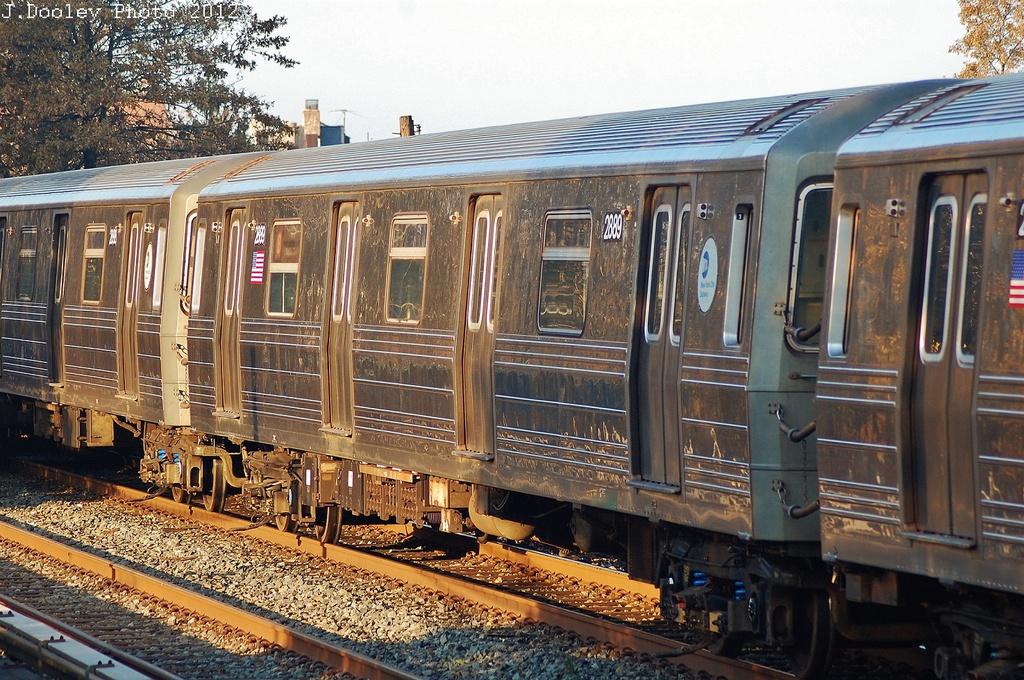 (427k, 1024x680)<br><b>Country:</b> United States<br><b>City:</b> New York<br><b>System:</b> New York City Transit<br><b>Line:</b> BMT Brighton Line<br><b>Location:</b> Avenue U <br><b>Car:</b> R-68 (Westinghouse-Amrail, 1986-1988)  2889 <br><b>Photo by:</b> John Dooley<br><b>Date:</b> 11/11/2012<br><b>Notes:</b> Post-Sandy layups due to Coney Island Yard cleanup<br><b>Viewed (this week/total):</b> 0 / 896