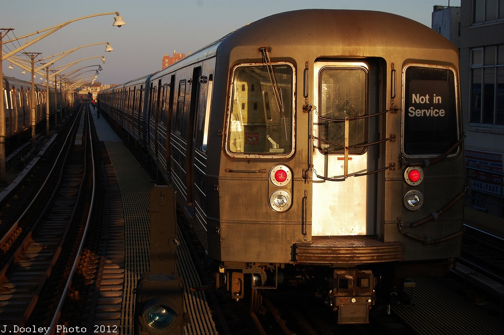 (307k, 1024x680)<br><b>Country:</b> United States<br><b>City:</b> New York<br><b>System:</b> New York City Transit<br><b>Line:</b> BMT Brighton Line<br><b>Location:</b> Ocean Parkway <br><b>Car:</b> R-68/R-68A Series (Number Unknown)  <br><b>Photo by:</b> John Dooley<br><b>Date:</b> 11/11/2012<br><b>Notes:</b> Post-Sandy layups due to Coney Island Yard cleanup<br><b>Viewed (this week/total):</b> 0 / 957