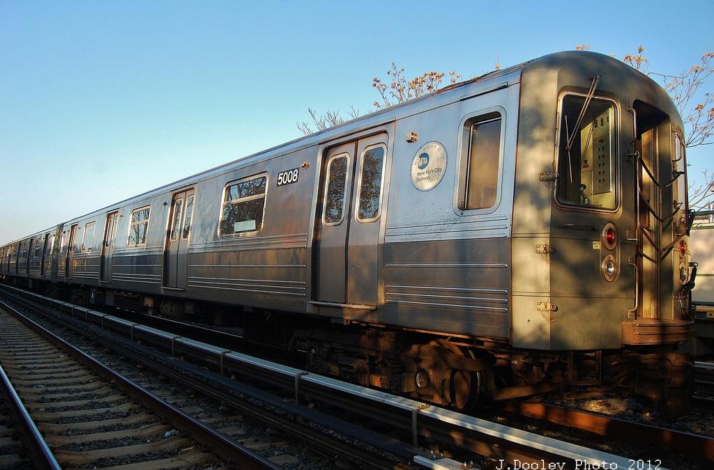(329k, 1024x675)<br><b>Country:</b> United States<br><b>City:</b> New York<br><b>System:</b> New York City Transit<br><b>Line:</b> BMT Brighton Line<br><b>Location:</b> Neck Road <br><b>Car:</b> R-68A (Kawasaki, 1988-1989)  5008 <br><b>Photo by:</b> John Dooley<br><b>Date:</b> 11/11/2012<br><b>Notes:</b> Post-Sandy layups due to Coney Island Yard cleanup<br><b>Viewed (this week/total):</b> 3 / 1191