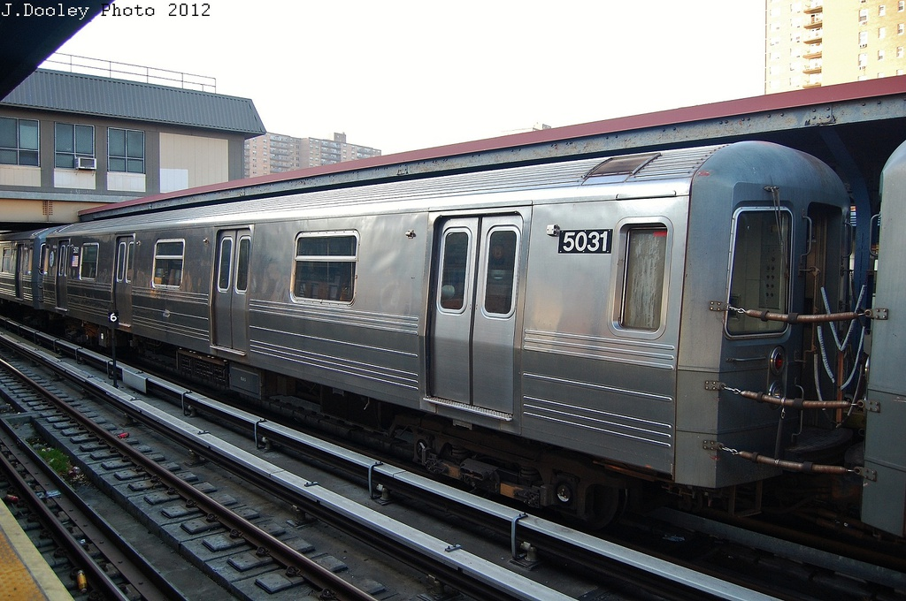 (327k, 1024x680)<br><b>Country:</b> United States<br><b>City:</b> New York<br><b>System:</b> New York City Transit<br><b>Line:</b> BMT Brighton Line<br><b>Location:</b> Ocean Parkway <br><b>Car:</b> R-68A (Kawasaki, 1988-1989)  5031 <br><b>Photo by:</b> John Dooley<br><b>Date:</b> 11/11/2012<br><b>Notes:</b> Post-Sandy layups due to Coney Island Yard cleanup<br><b>Viewed (this week/total):</b> 0 / 899