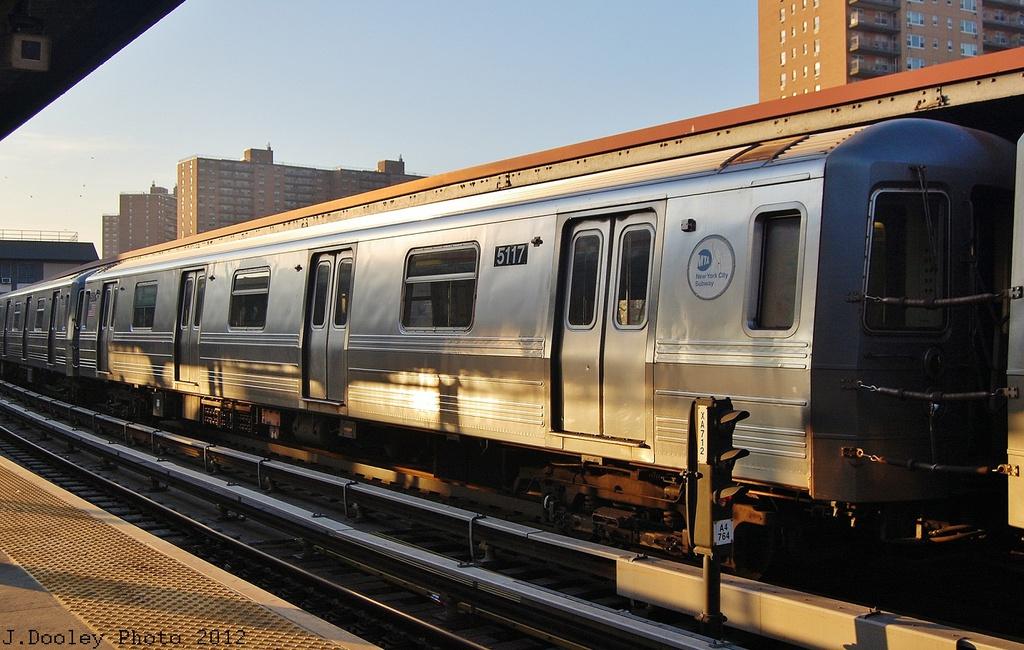 (331k, 1024x650)<br><b>Country:</b> United States<br><b>City:</b> New York<br><b>System:</b> New York City Transit<br><b>Line:</b> BMT Brighton Line<br><b>Location:</b> Ocean Parkway <br><b>Car:</b> R-68A (Kawasaki, 1988-1989)  5117 <br><b>Photo by:</b> John Dooley<br><b>Date:</b> 11/11/2012<br><b>Notes:</b> Post-Sandy layups due to Coney Island Yard cleanup<br><b>Viewed (this week/total):</b> 0 / 670